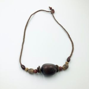 Jewelry - Womens rope Wood Beaded Necklace